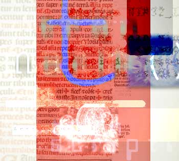 Image and text collage showing digital manipulations of manuscripts and graphics.